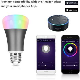 346.Smart Light Bulb, LOPOO Wifi LED Light Bulb 7W Dimmable Lamp Smart Control Night Light E27 Base Works with Amazon Alexa (Space Grey)