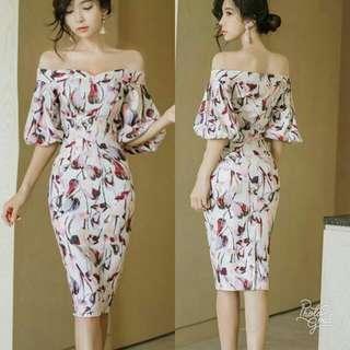 🍃Elegant Formal Off Shoulder Floral Dress
