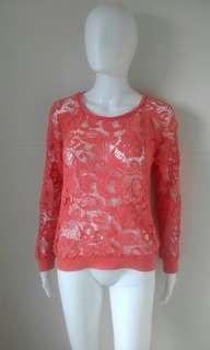Vintage S burnt orange lace layering jumper