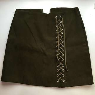 Green Cross Tie Skirt