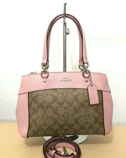 Coach Signature Mini Brooke Carryall (Khaki-Blush 2) size 27-26x19x9cm