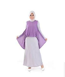 Long Dress Gamis Maxi tangan Corak salur - Alfiana