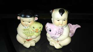 Vintage ceramic Boy and Girl figurines