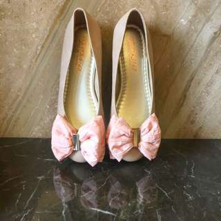 🚚 粉色焦點蝴蝶結平底鞋