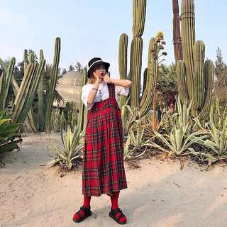 紅色連身吊帶蘇格蘭長裙洋裝