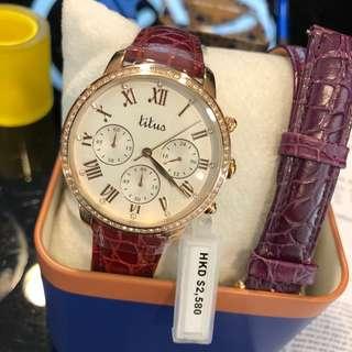 施華洛水晶女裝皮帶錶