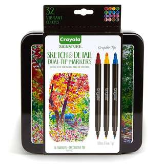 Crayola Signature Sketch & Detail Dual-Tip Markers Professional Coloring Kit, Crayoligraphy Calligraphy 16ct