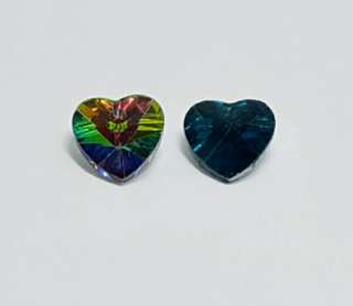 70pcs Faceted Glass Heart Charms #Ramadan50