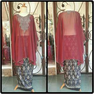 Set kaftan maroon + batik hitam (All Size)