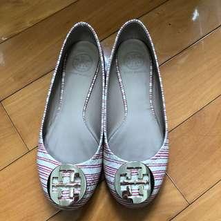 Tory burch 紅白間條平底鞋 Flats in red and white stripe pattern