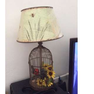 Table lamp - bird cage with bird and flowers
