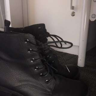 Black lace up boots