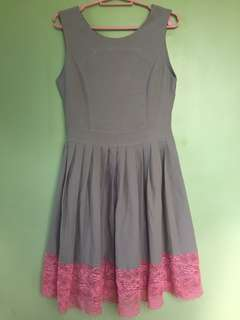 Gray with pink lace dress