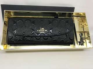 Coach Slim Wallet Debossed Black set with box and charms
