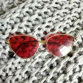Red sunnies shades sunglasses
