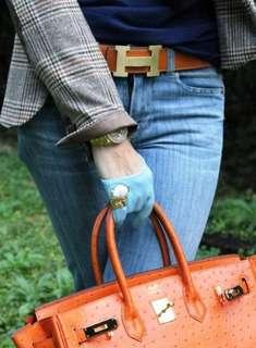 HERMES Reversible Orange/Gold Constance H Belt Brushed Gold Hardware - 80 CM