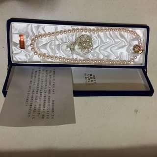 日本粉紅珍珠項鍊