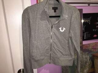 Grey True Religion cropped sweater size Medium