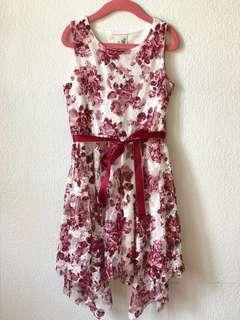 Lace Dress with Ribbon Belt
