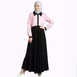 New Gamis Fashion Pinky Style Combination - Pink