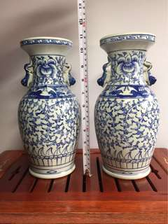 Pair Of Blue & White Pea Flower Vase