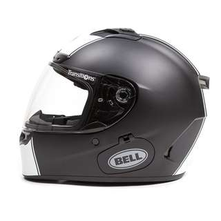 Bell Qualifier DLX SIZE X-LARGE XL ONLY with Transitions Lens Visor Shield Full Face Motorcycle Motorbike Helmet Matte Black White Rally