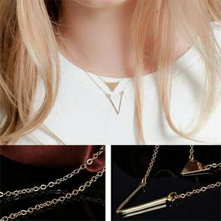 Two-layer V-Triangle Necklace