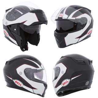 Bell Revolver Evo SIZE LARGE ONLY Modular Flip Up Open Up Street Motorbike Motorcycle Helmet Ghost Black White D.O.T. Certified with tinted interior shield visor lens