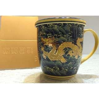 皇殿 富貴金龍 浮雕茶杯+杯蓋 禮盒 杯子 蓋子 瓷杯