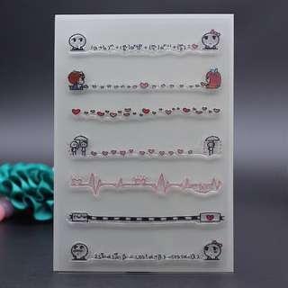 🌸 Cute Korean Edge Line Decoration Clear Stamp