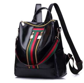 PRE-ORDER: Leather Backpack with Stripes Detail