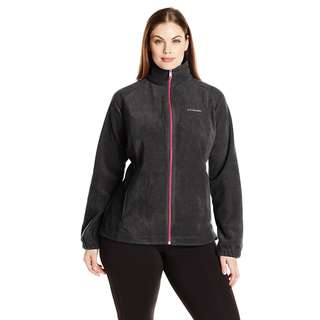 Columbia Women's Benton Springs Full Zip Jacket, Black/Haute Pink, Large
