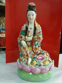 金万花观音菩萨,70年代,高26×14cm