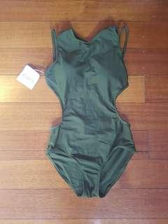 Zaful Army Green One Piece Swimsuit