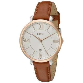 BN Fossil jacqueline brown leather watch