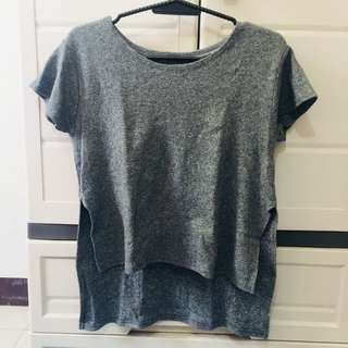 Gray top with side slit