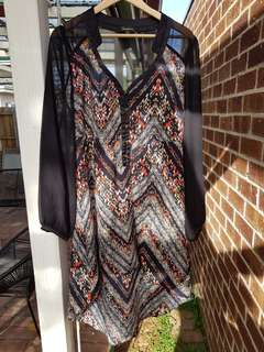 Sheer dress top with cut outs at the back size 14