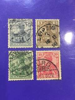 4 pcs Germany Reichspost Used Stamps
