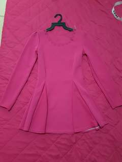 Pink Fuschia Peplum Dress