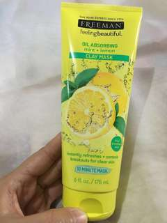 Masker Freeman - Oil Absorbing Mint + Lemon Clay Mask