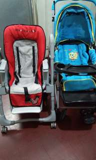 stroller and high chair