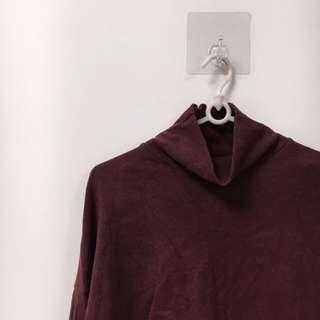🚚 韓版 酒紅 秋冬 寬袖 設計感 短版 長袖 上衣