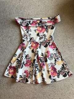 Bohoo Off-Shoulder Floral Dress