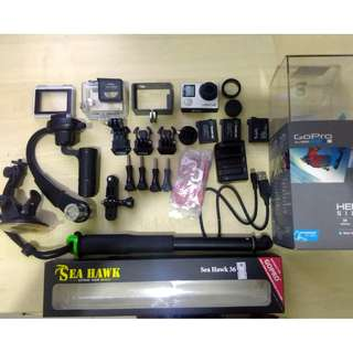 GoPro Hero 4 + Accessories + Stabilizer