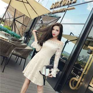 Long-Sleeve: Apricot Korean Boat Neck Lace Hollow Out Dress (One Size) - OA/XKD082804