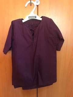 Baju Kurung tailor made Dark Purple (high quality cotton)