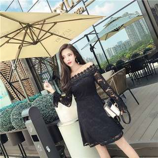 Long-Sleeve: Black Korean Boat Neck Lace Hollow Out Dress (One Size) - OA/XKD082804