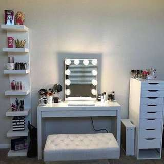 Vanity set (table, drawer,mirror, shelf and stool)