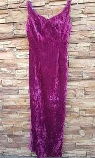 Long Purple Velvet Gown