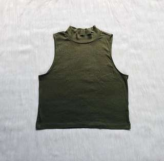 Olive Green Turtleneck Croptop
